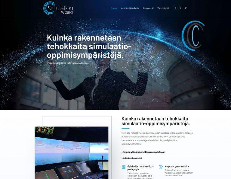 Simulaattori.fi - Väitöskirjan markkinointisivut